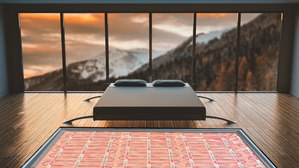 underfloor heating system in the bedroom