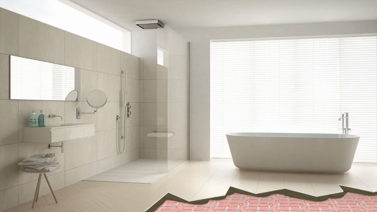 modern open space plan bathroom with underfloor heating