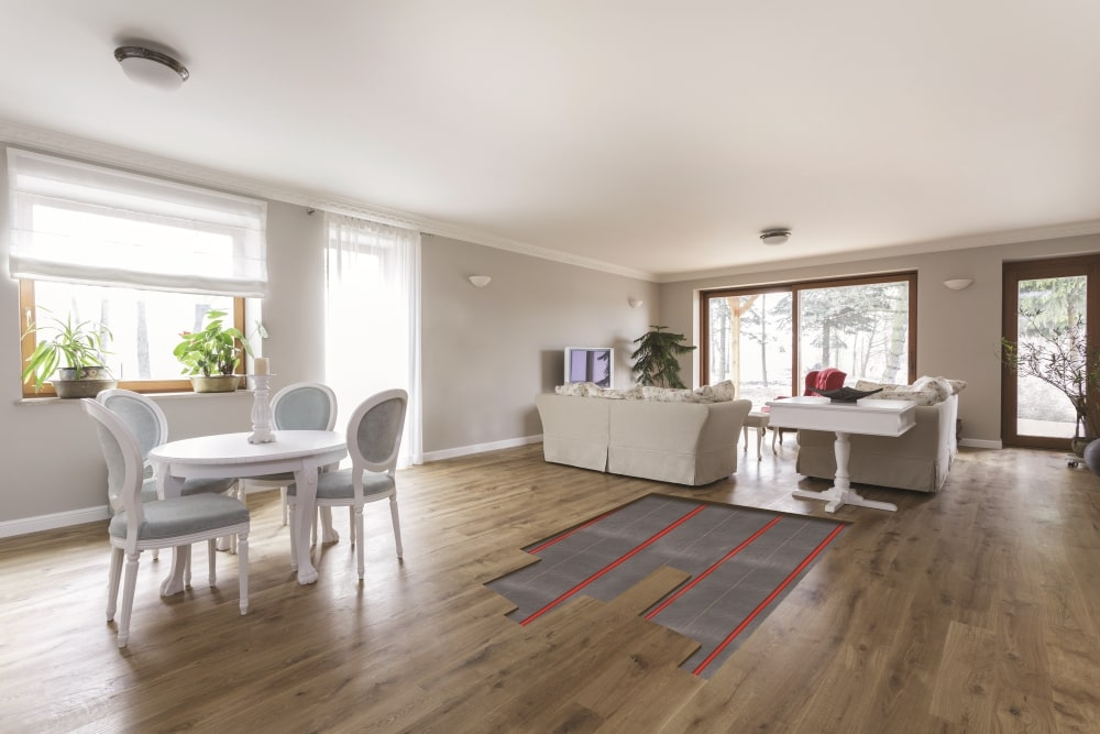 timber wood flooring with underfloor heating in the living room