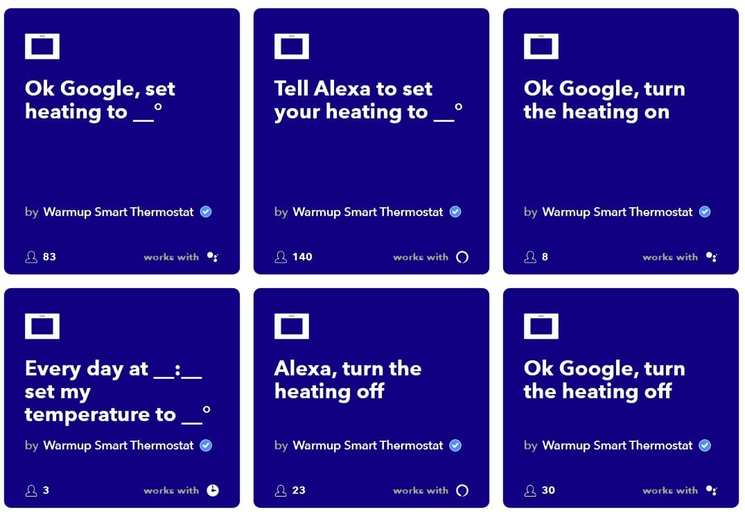 warmup thermostats IFTTT applet