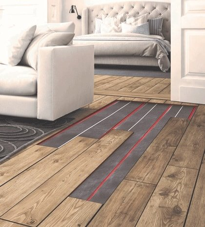 water underfloor heating under wooden floor